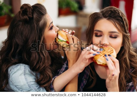 pizza. Hungry woman eating fast food Stock photo © rogistok