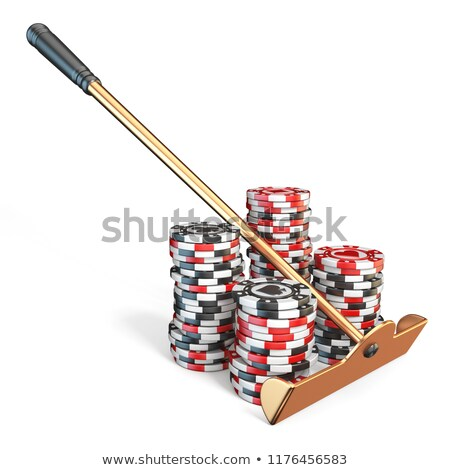 Roulette rake with gambling chips 3D Stock photo © djmilic
