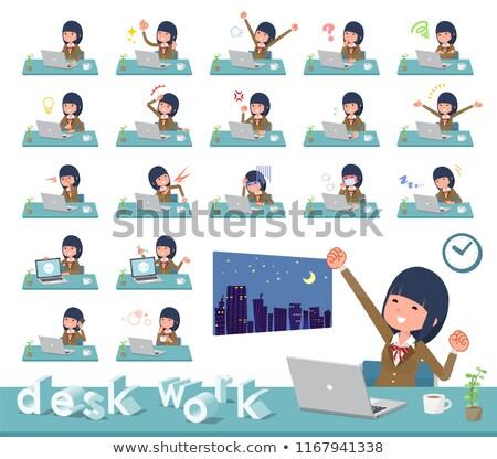 Schoolmeisje bruin werk computer glimlach vrouwen Stockfoto © toyotoyo