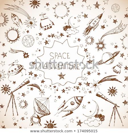 satélite · dibujado · a · mano · garabato · icono · navegación - foto stock © rastudio
