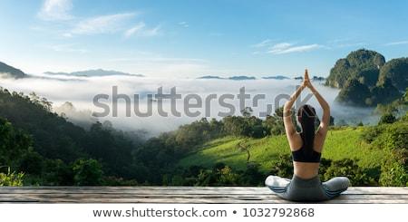 Ince uygunluk kız poz gündoğumu sevimli Stok fotoğraf © fotoduki