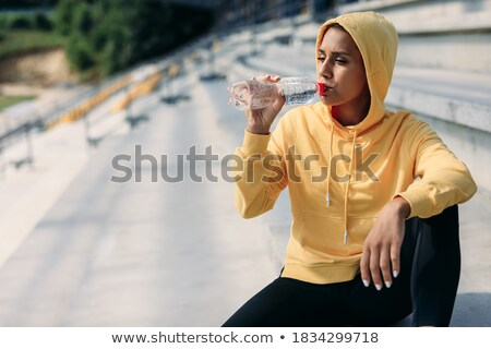 Stok fotoğraf: Genç · kadın · eğitim · içme · suyu · şişe · kadın