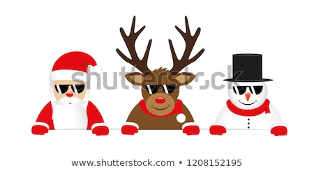 Santa and a reindeer in sunglasses 2 Stock photo © liolle
