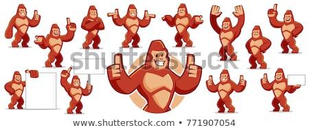 Cartoon gorilla teken illustratie dier Stockfoto © cthoman