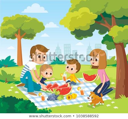 Család gyerekek piknik természet vektor izolált Stock fotó © pikepicture