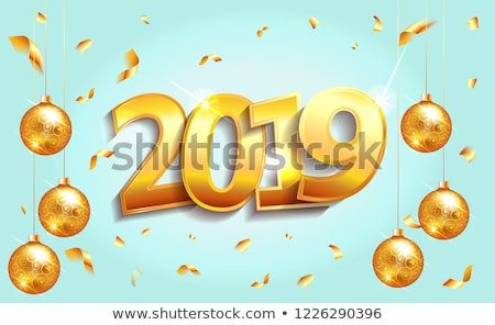 2019 happy new year illustration with 3d typography lettering and christmas ball on white backgroun stock photo © articular