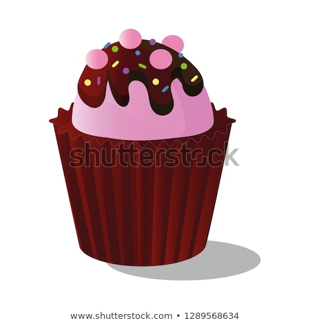 Chocolate cupcake with pink cream Stock photo © TasiPas