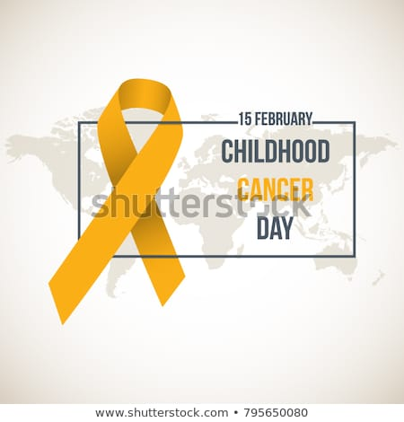 Stock photo: Childhood cancer day symbol, 15 february. Yellow Ribbon symbol. Medical Design. Vector illustration