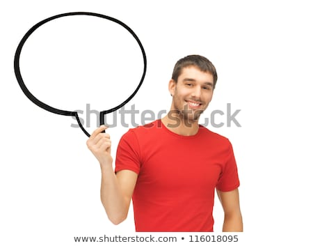 handsome man in bright t shirt with speech bubble stock photo © traimak