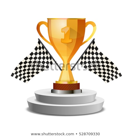 bright glossy winner cup on pedestal with flags stock photo © evgeny89