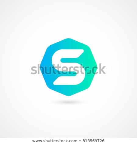 ターコイズ ロゴ 手紙 ロゴタイプ ベクトル アイコン ストックフォト © blaskorizov