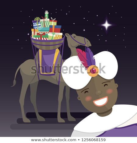 Three kings selfie with king Balthazar, camel and gifts at night Stock photo © Imaagio