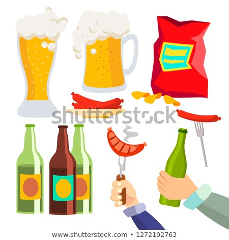beer party vector alcohol drink icon symbol stylized glass chips sausages isolated flat cartoon stock photo © pikepicture