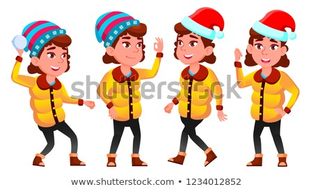 christmas girl poses set vector winter neww year for presentation print invitation design isol stock photo © pikepicture
