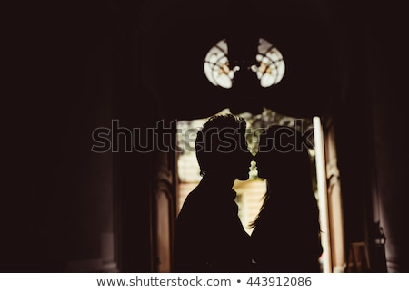 Beautiful bride stands silhouette near window stock photo © ruslanshramko