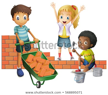 Three kids building brick wall Stock photo © colematt