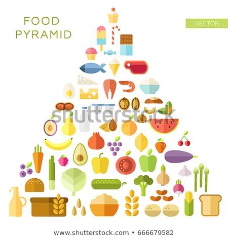 comida · pirâmide · ilustração · alimentação · saudável · pão · peixe - foto stock © decorwithme