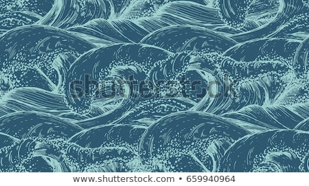blue sea water wave seamless pattern stock photo © cienpies