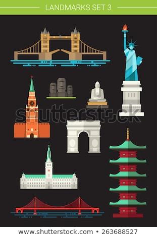 World landmarks flat concept icons Stock photo © netkov1