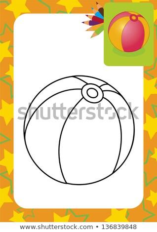 Couleur croquis bébé ballon de plage dessinés à la main balle Photo stock © netkov1