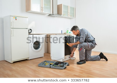 Stok fotoğraf: Technician Checking Dishwasher With Digital Multimeter