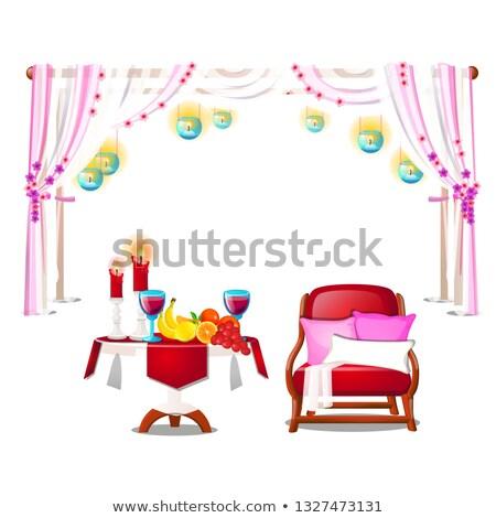 Piros fotel párnák fa asztal friss érett Stock fotó © Lady-Luck