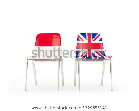 Twee stoelen vlaggen Indonesië Verenigd Koninkrijk geïsoleerd Stockfoto © MikhailMishchenko