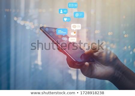 Foto stock: Mão · mensagem · ícones · feminino · nuvem
