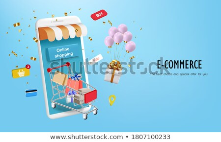 Banners with Presents Boxes Gifts, Balloon, Basket Stock photo © robuart
