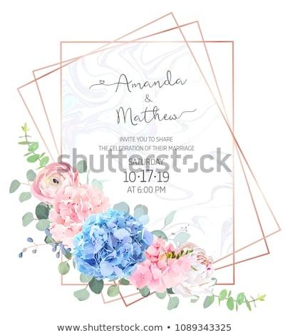 Blumen Vektor Hochzeitseinladung Karte sparen Datum Stock foto © frimufilms