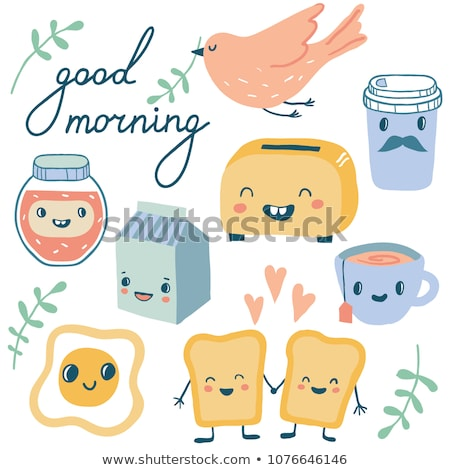 Cute Illustration Toast Toaster Zeichen Gesichter Stock foto © Natali_Brill