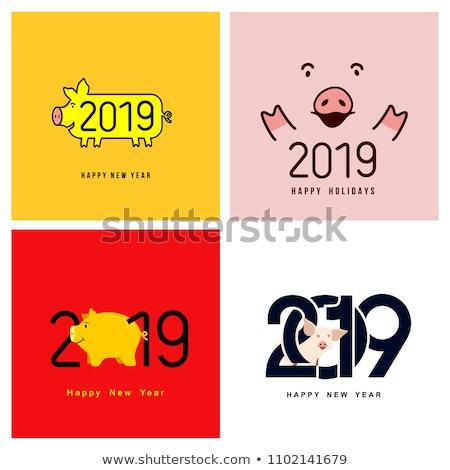 Boldog ünnepek képeslap malac vektor szimbólum Stock fotó © robuart