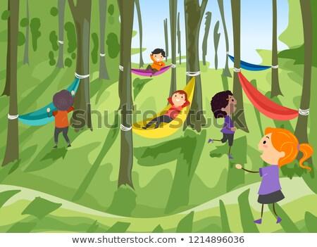 Stickman Kids Hammock Forest Illustration Stock photo © lenm