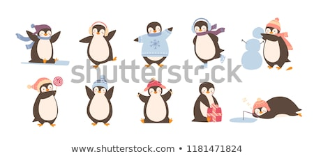 Cheerful Penguin in Sweater and Scarf Vector Foto stock © robuart