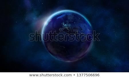 Gece yarım toprak uzay Afrika Stok fotoğraf © ConceptCafe