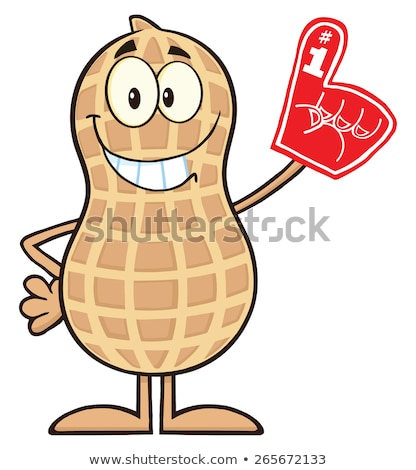 Funny Peanut Cartoon Mascot Character Wearing A Foam Finger Stock photo © hittoon