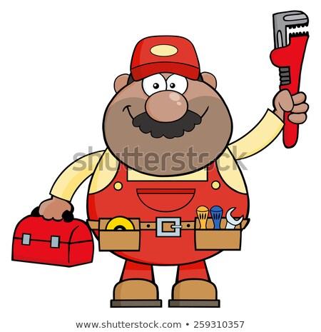 Mechaniker Zeichentrickfigur Schraubenschlüssel Werkzeugkasten Bau Stock foto © hittoon