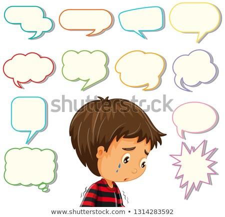 Depress boy with different speech balloon Stock photo © colematt