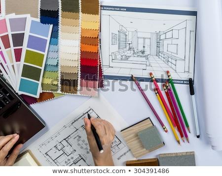 moderne · interieur · werkplek · laptop · witte · kleuren - stockfoto © ElenaBatkova