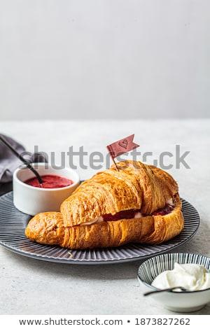 Croissant morango congestionamento cinza prato café da manhã Foto stock © Melnyk