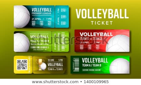 stylish design volleyball tickets flyer set vector stock photo © pikepicture