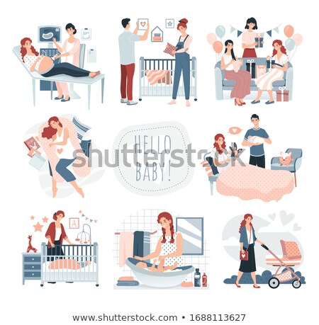 Stock photo: Character Parents Celebrating Childbirth Vector