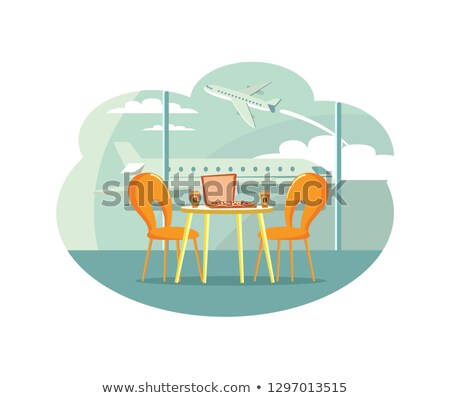 Cafe Table at Airport with Pizza in Box and Coffee Stock photo © robuart