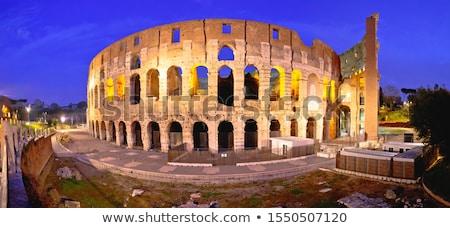 Coliseu praça panorâmico madrugada ver Roma Foto stock © xbrchx
