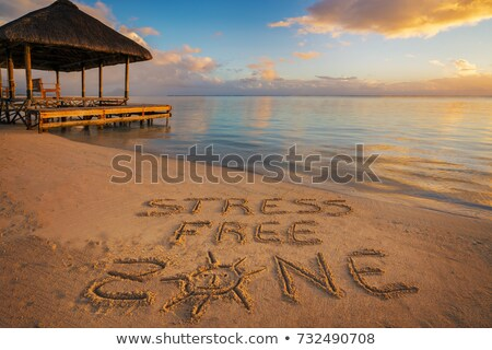 Stress Free Zone Written On Sand At Beach Stock photo © AndreyPopov