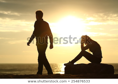 Couple silhouette breaking up a relation Stock photo © Lopolo