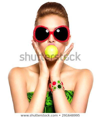 小さな · 美人 · 着用 · 眼鏡 · 作業 - ストックフォト © serdechny