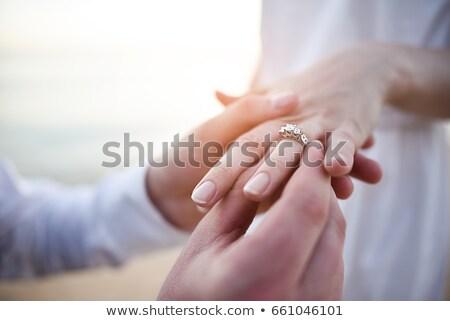 novio · anillo · dedo · novia · boda · mujer - foto stock © kzenon