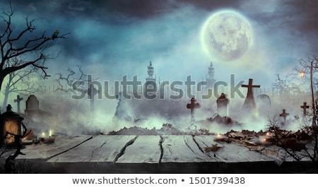 Halloween design table en bois cimetière cimetière Photo stock © mythja