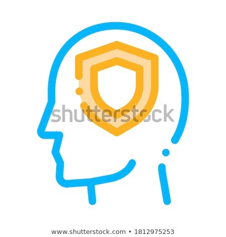 защиту щит человека силуэта ума вектора Сток-фото © pikepicture